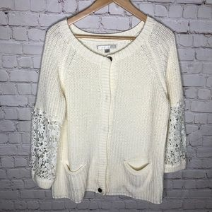 LC Lauren Conrad Ivory White Lace Sleeve Sweater